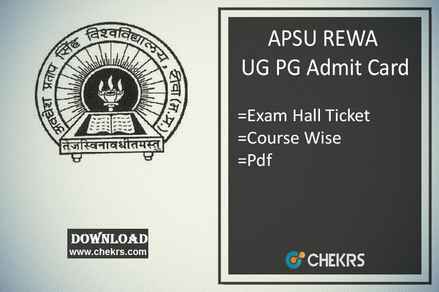 APSU REWA Admit Card - apsurewa.ac.in University UG PG Admit Card
