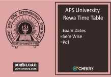 APS University Rewa Time Table - 1st 3rd 5th Sem Date, Schedule