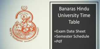 BHU Time Table , BA BSc BCom Semester Exam Date Sheet
