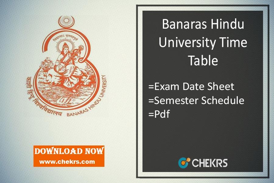 BHU Time Table , BA BSc BCom Semester Exam Date Sheet