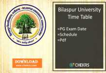 Bilaspur University Time Table - MA MSC MCOM Exam Date, Schedule