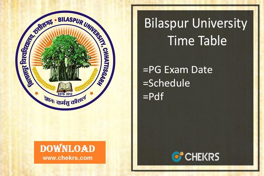 Bilaspur University Time Table - MA MSC MCOM Exam Date, Schedule