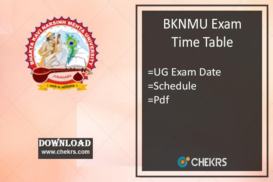 BKNMU Time Table , BA BSc BCom Odd Semester Exam Date