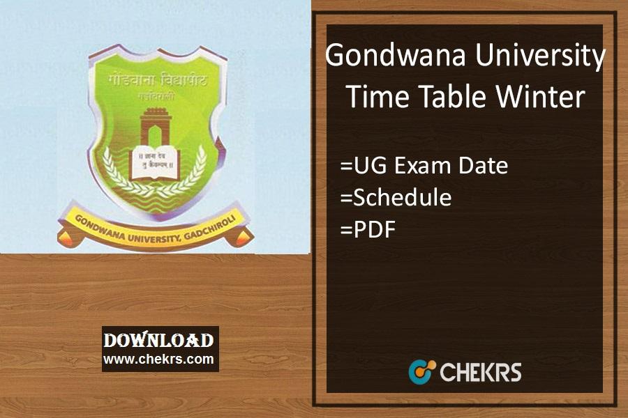 Gondwana University Time Table Winter - BA BSC BCOM Timetable