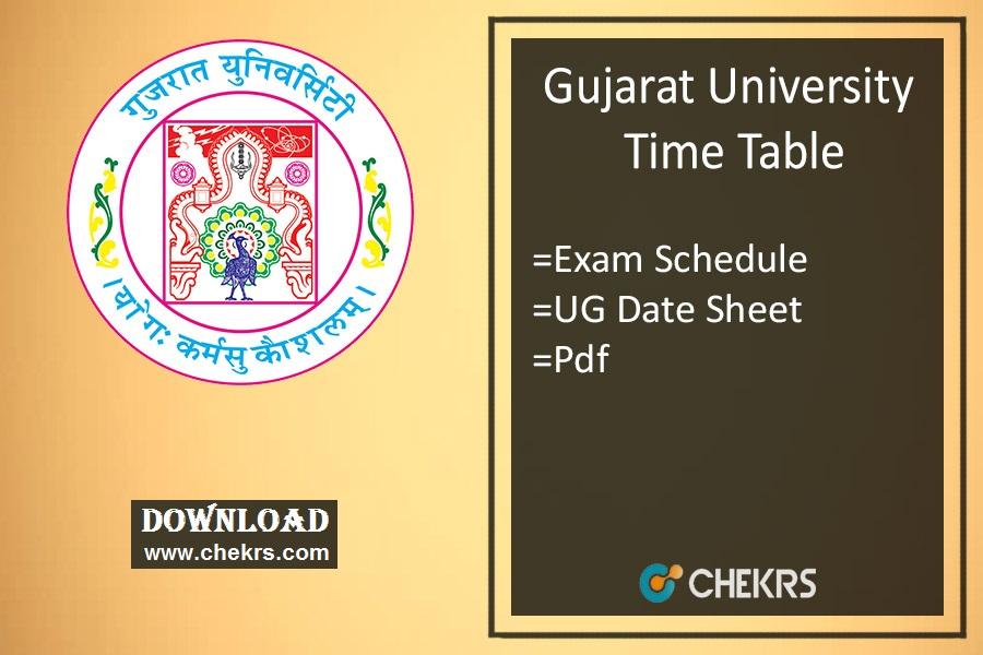 Gujarat University Time Table - BA BSC BCOM Oct Sem 5 3 1 Exam Schedule