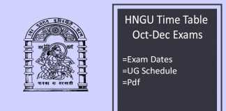 HNGU Time Table Oct Dec- 1st 3rd 5th Sem BA BSC BCOM Exam Schedule
