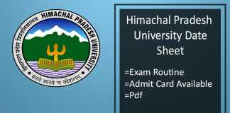 HPU BA BSC BCOM MA MSC MCOM Date Sheet - 1st 3rd 5th Sem Admit Card