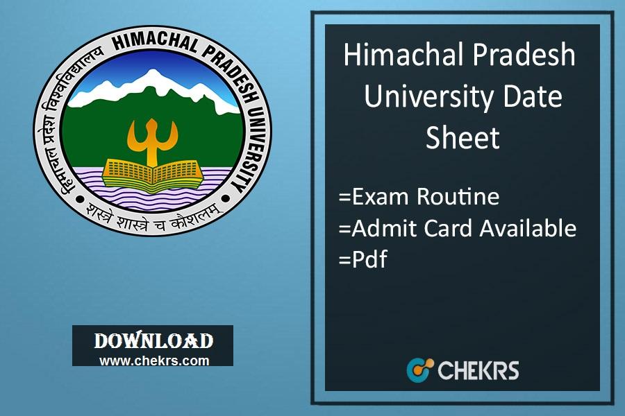 HPU BA BSC BCOM MA MSC MCOM Date Sheet - 1st 3rd 5th Sem Admit Card
