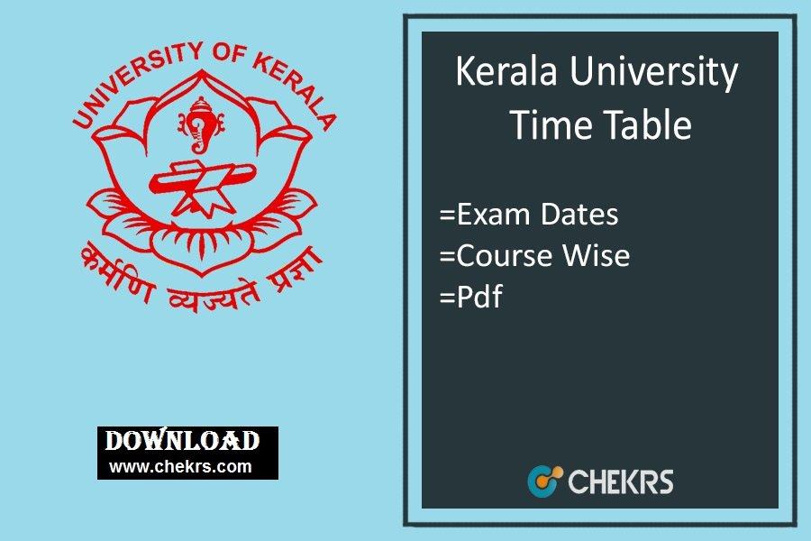 Kerala University Time Table , BA BSC BCOM B.Tech Odd Sem Date Sheet