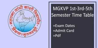 MGKVP 1st-3rd-5th Semester Time Table - BSC BBA BPED LLB MPED Admit Card