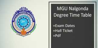 MGU Nalgonda Degree Time Table - BA BSC BCOM MA Hall Ticket
