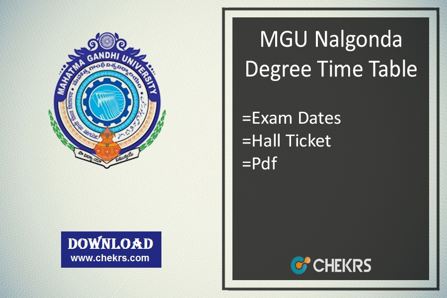 MGU Nalgonda Degree Time Table - BA BSC BCOM MA Hall Ticket