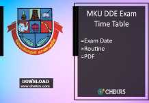 MKU DDE Exam Time Table - BA BSC BCOM MA MSC MCOM Date Sheet