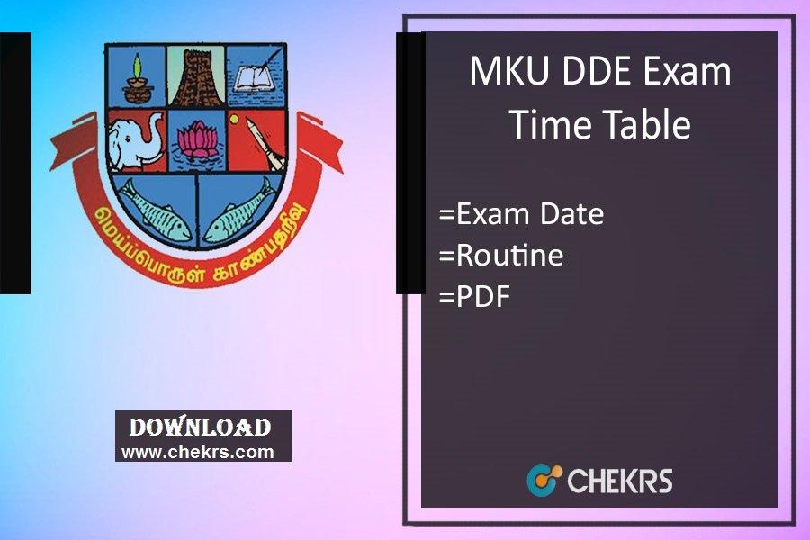 MKU DDE Exam Time Table - BA BSC BCOM MA MSC MCOM Date Sheet