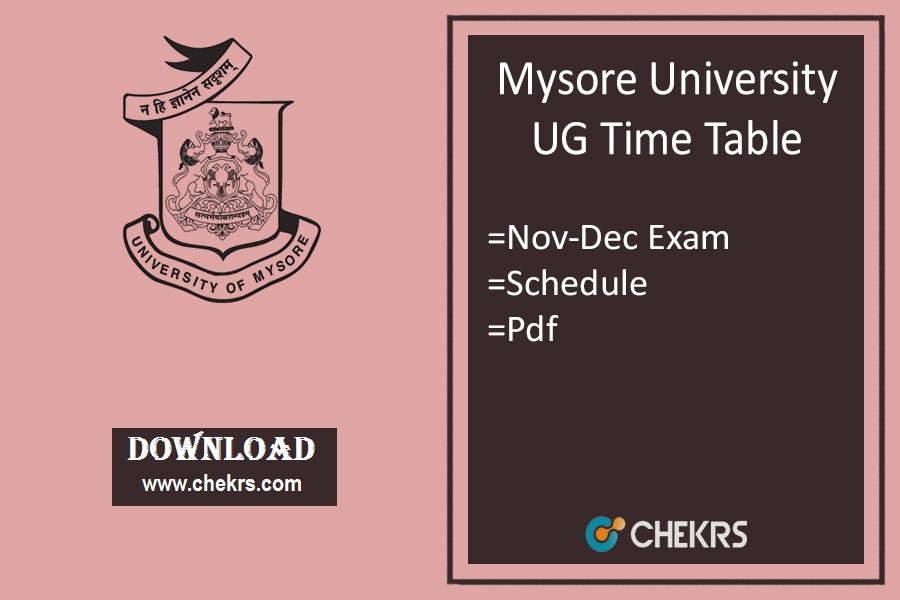 Mysore University Time Table Nov-Dec , BA BSc BCom Exam Date