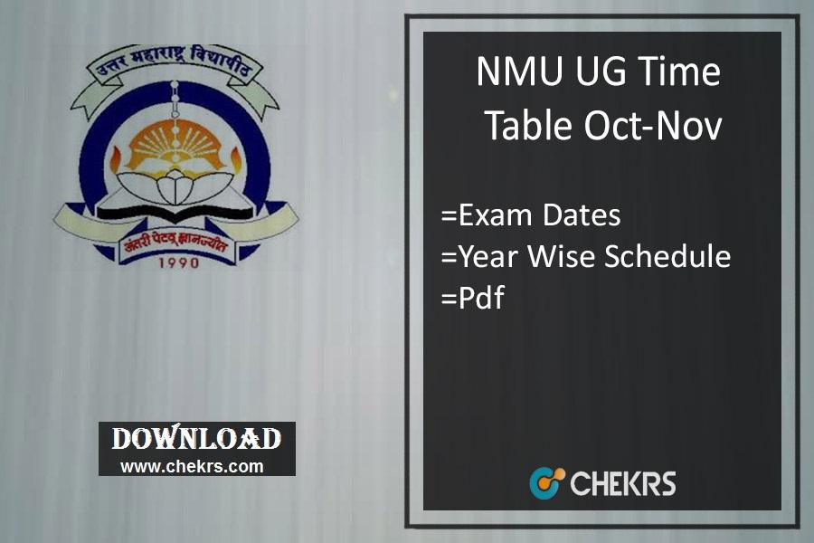 NMU Time Table Nov - Jalgaon TYBA SYBSC FYBCOM Exam Date