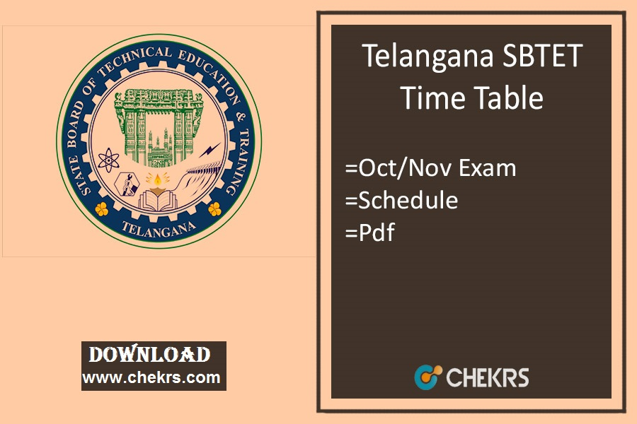 TS SBTET Timetable Oct/ Nov - Diploma C09 C14 C16 ER91 Exam Date