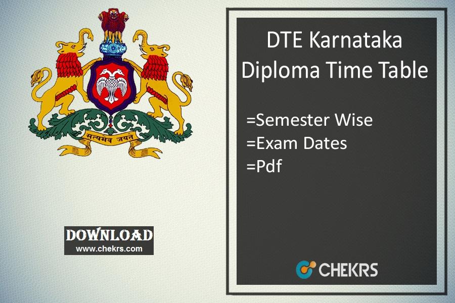 DTE Karnataka Diploma Time Table