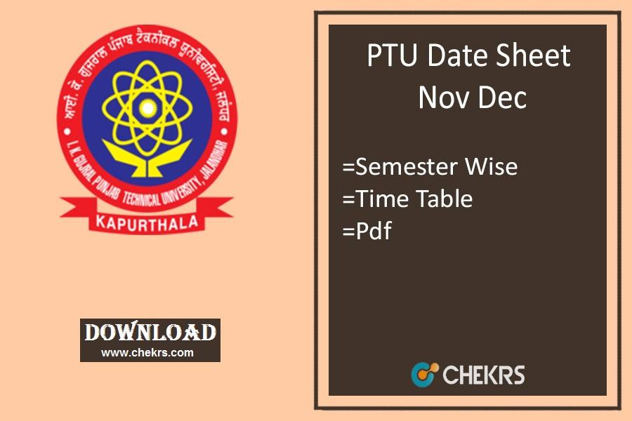 PTU Date Sheet Nov Dec