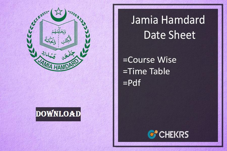 jamia hamdard date sheet