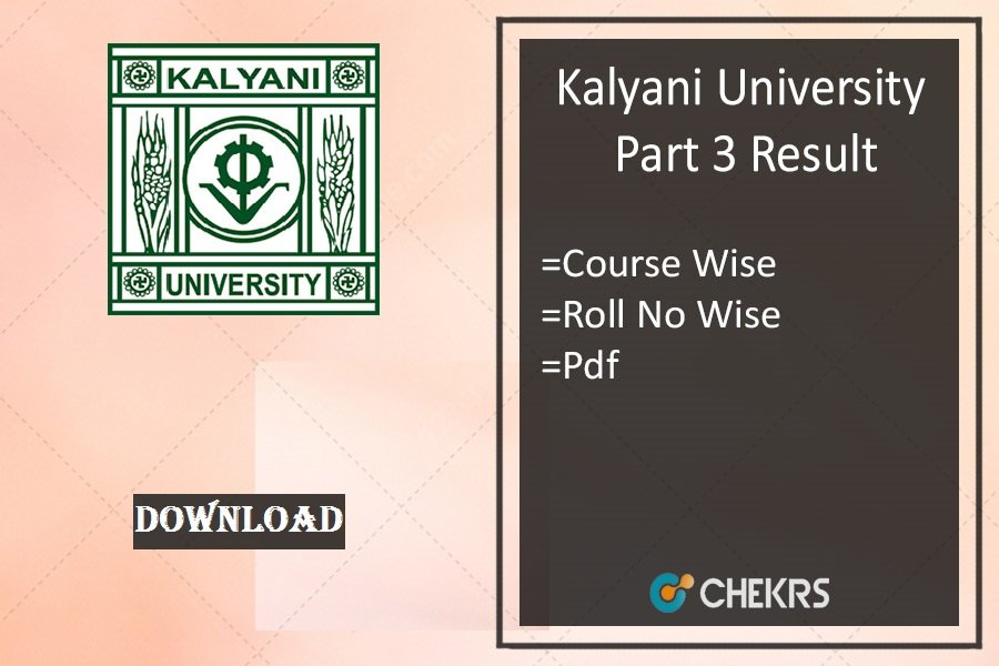kalyani university part 3 result