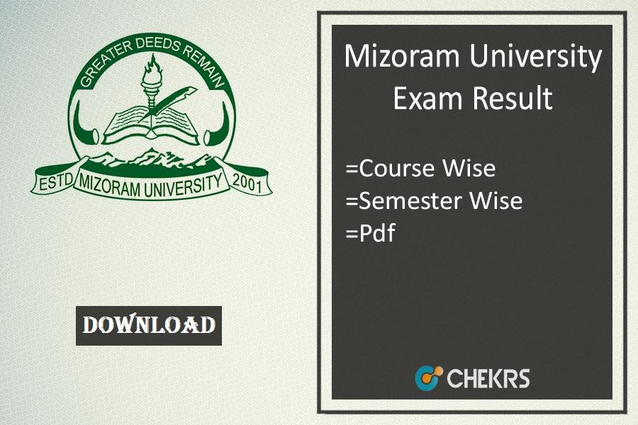 mizoram university exam result