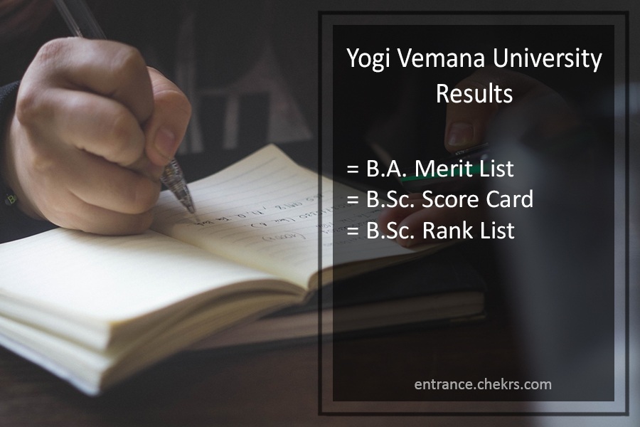 Yogi Vemana University Degree Result - YVU BA B.Sc B.Com Results