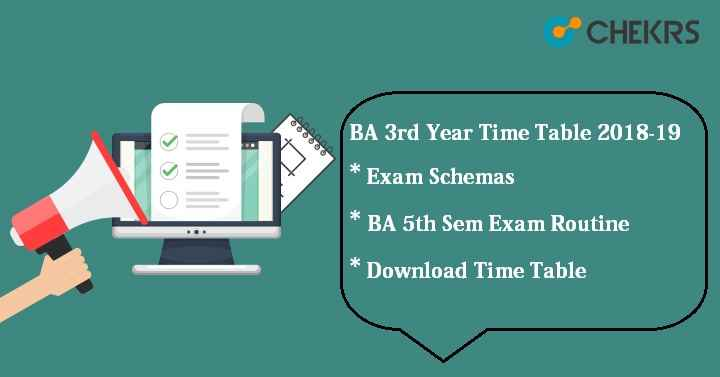 BA 3rd Year Time Table 2018-19
