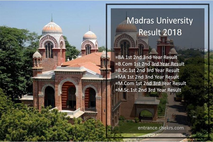 Madras University Results UNOM UG PG Result, unom.ac.in