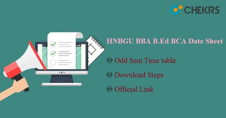 HNBGU BBA B.Ed BCA Date Sheet