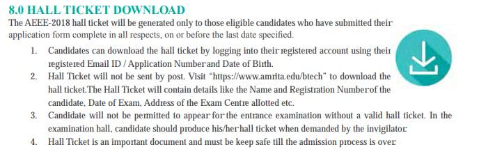AEEE Admit Card Hall Ticket