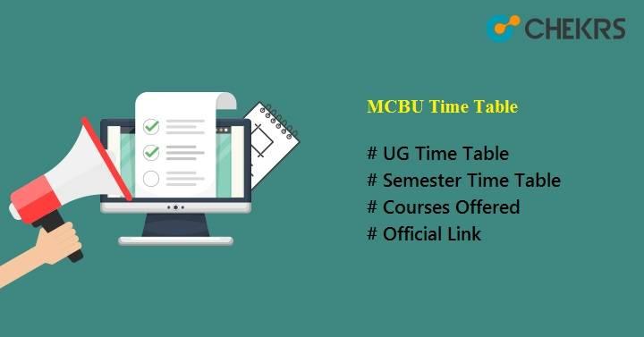 mcbu time table